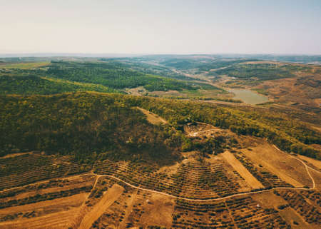 photo from drone above beautiful spring landscape