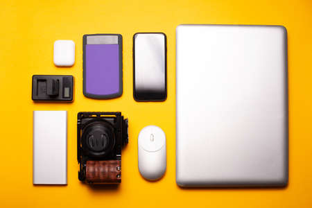 Top view photo of laptop camera and other tools for vlog Imagens