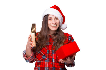 Young female is surprised about the gift she has just opened.