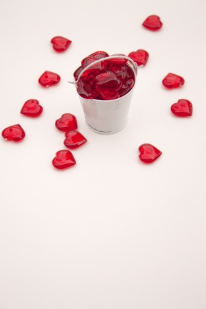 Heart shaped pieces in small white metal bucket for Valentine s Day photo
