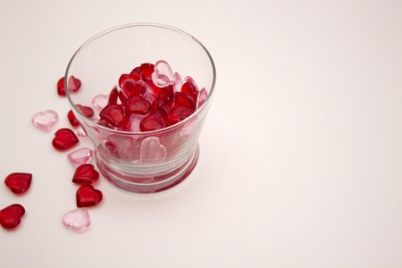 Heart shaped pieces in glass bowl for Valentine s Day Stock fotó
