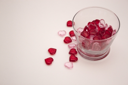 Heart shaped pieces in glass bowl for Valentine s Day photo
