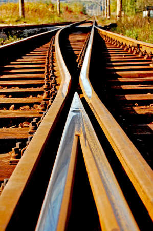 railroad track: Railway  Stock Photo