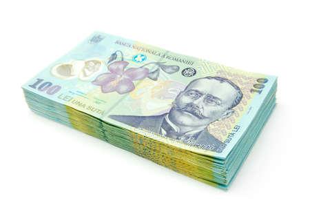 leu: romanian banknotes Stock Photo