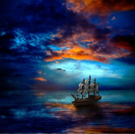 sail boat: ship an dark sea Stock Photo