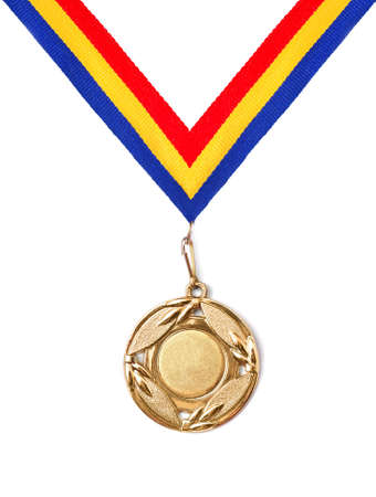 yellow ribbon: gold medal Stock Photo