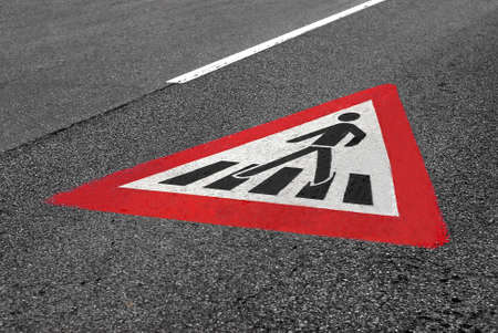 cautionary: pedestrian crossing warning