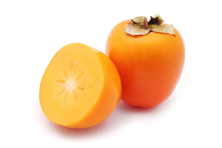 Sharon fruta en el fondo blanco