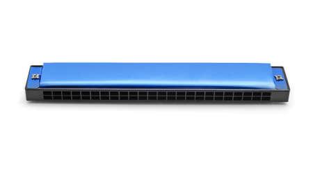 aerophone: blue harmonica on white background Stock Photo