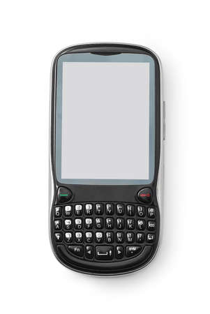 qwerty: qwerty keyboard cell phone on white
