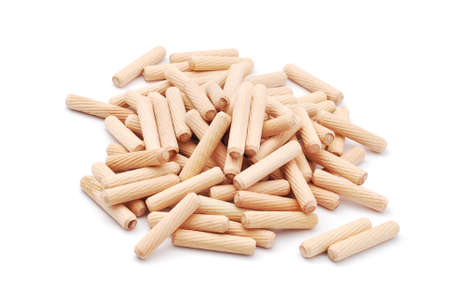 dowel: wooden dowels on white background Stock Photo