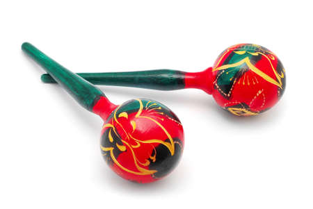 traditional maracas on white background
