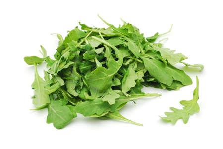 rocket lettuce: rucola leaves on white background