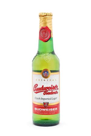 vertica: Budwieser beer bottle on white Editorial