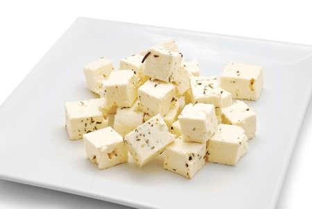 feta cheese on plate studio shot Stock Photo