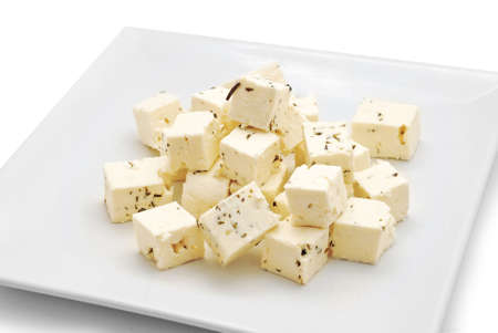 feta cheese on plate studio shot Stock Photo