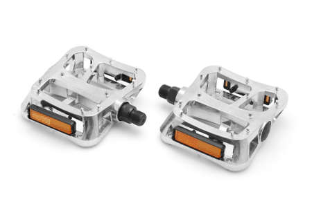 non skid: bicycle pedals on white background Stock Photo
