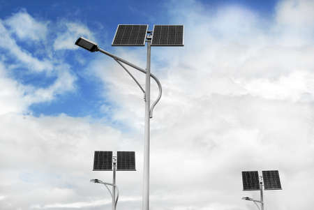 group of solar powered street lights photo
