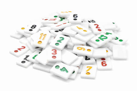 rummy: pile of rummy pieces on white Stock Photo