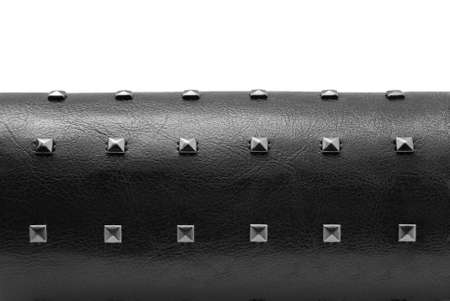 black leather bracelet with spikes photo
