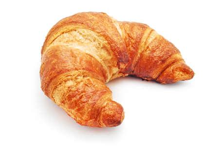 mantequilla: croissant frescas sobre fondo blanco