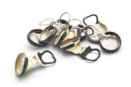 ring pull: ring pull beer caps on white