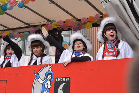 karlsruhe: Karlsruhe, Baden Wuerttemberg, Germany - February 16, 2015: The 300th anniversary of the city of Karlsruhe, annual Carnival and parade, Fasching. Girls in carnival costumes saluting the crowd. Editorial