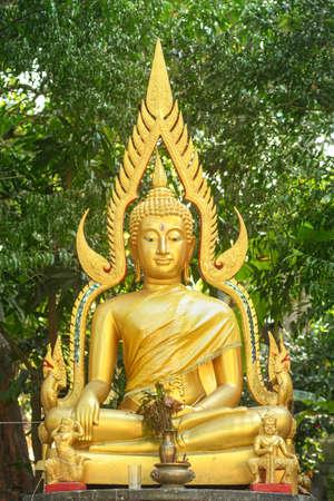venerable: golden buddha statue in thailand Stock Photo