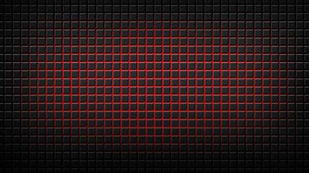 steel sheet: dark black metal mesh with red pulse Stock Photo
