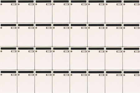mail slot: mailboxes background with blank name tags