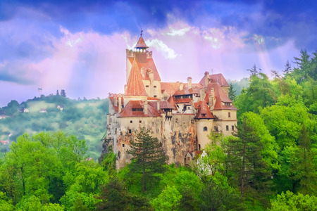 Beautiful landscape with the legendary and historical Dracula castle, medieval monument of Transylvania in Brasov region, Romania