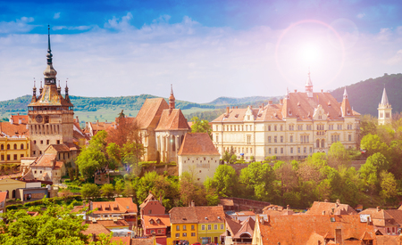 Panoramic view over the cityscape architecture in Sighisoara town, historical region of Transylvania, Romania
