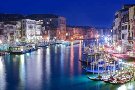 Beautiful night scene over Grand Canal and generic architecture of Venice, Italy Stok Fotoğraf