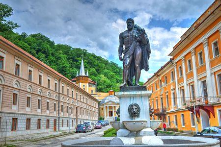 Famous statue of Hercules in Herculane village of Romania Editorial