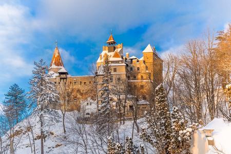 Famous castle of Dracula in Bran region in winter season