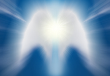 Beautiful abstract shape of an angel drawing with clouds on blue sky Archivio Fotografico - 96235001