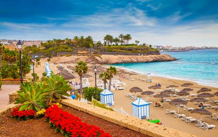 Beautiful summer holiday on EL Duque beach of Tenerife, on Adeje coast, Canary Island - Spain 版權商用圖片