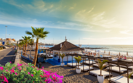 Beautiful view over Fanabe beach at sunset, in Tenerife, Canary island Stock Photo