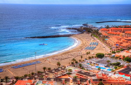 Aerial panorama of Fuente beach De Las Vistas on Canary island in summer holiday, Tenerife, Spain