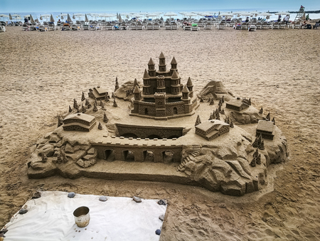 A close up of a sand castle on a beach in Tenerife