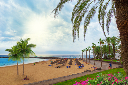 Beautiful landscape over Camison beach resort in summer holiday, in Tenerife, Canary island of Spain 스톡 콘텐츠