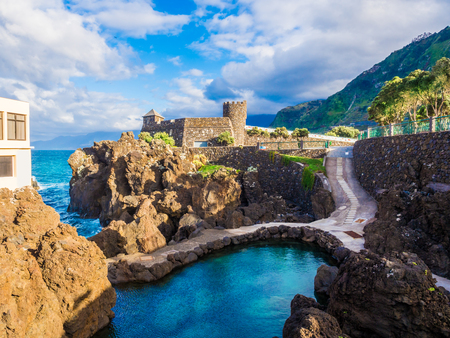 Amazing landscape with the famous swimming pools of Porto Moniz in Madeira island, Portugal