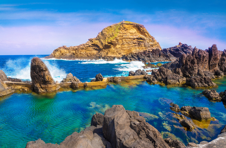 Amazing landscape with natural famous swimming pools of Porto Moniz in Madeira island, Portugal