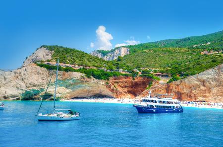 Beautiful landscape in Lefkada island, Beach and sea shore of Porto Katsiki in summer holiday, Greece