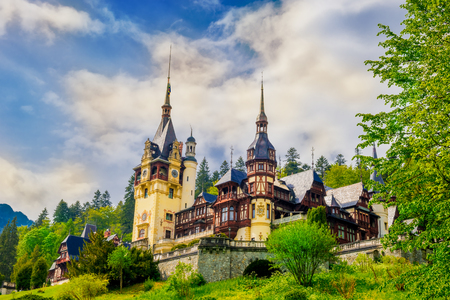 Beautiful residential Palace of Romanian King Royal family in Sinaia town, spring season - Romania Sajtókép