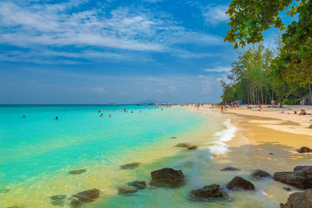 Beautiful panorama of the sea and Bamboo beach in Phi Phi region, Thailand