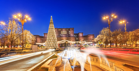 Bucharest cityscape in Christmas holiday, Romania