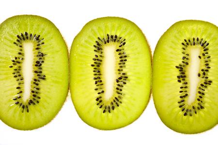 Kiwi slices on white background