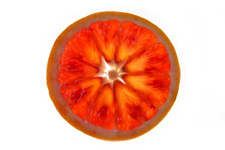 Red orange slice on white background 스톡 콘텐츠
