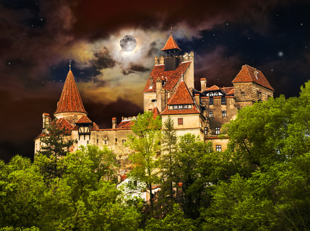 Famous Dracula castle in Bran town. Medieval architecture of Transylvania in Europe, Romania